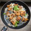 Κοτόπουλο τηγανητό με μπρόκολο και ρύζι